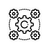 Schwarze Linie Ikone für Interoperabilität, Abstand und Chancen vektor abbildung