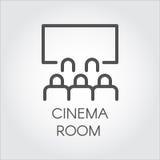 Schwarze Linie Ikonenpublikum im Raumkino, Videopräsentation Lizenzfreie Stockfotografie