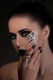 Schwarze Lippen und Augen der Mode lizenzfreie stockfotos