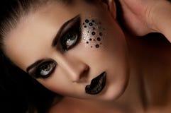 Schwarze Lippen und Augen der Mode lizenzfreies stockfoto