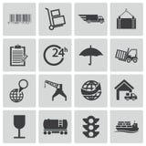 Schwarze logistische Ikonen des Vektors Lizenzfreie Stockfotografie
