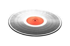 Schwarze LP-Aufzeichnung mit dem roten Aufkleber lokalisiert auf weißer Nahaufnahme Lizenzfreies Stockbild
