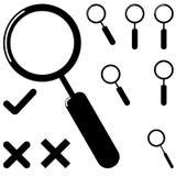 Schwarze Lupe und unterschiedliches Kennzeichen lizenzfreie abbildung