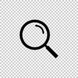 Schwarze Lupe, Vektorikone auf transparentem Hintergrund lizenzfreie abbildung