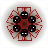Schwarze lustige Emoticons mit Schmetterlingen in einem Kreis, wenn die Arme angehoben sind lizenzfreie stockbilder