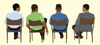 Schwarze Männer, die in einer Sitzung sitzen stock abbildung
