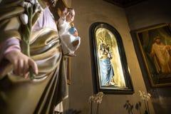 Schwarze Madonna von Basilika S Sebastian, Biella, Italien Lizenzfreies Stockbild