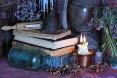 Schwarze magische Banne Banne und Kräuter Wiccan Lizenzfreie Stockbilder