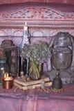 Schwarze magische Banne Banne und Kräuter Wiccan Lizenzfreies Stockbild