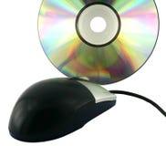 Schwarze Maus und optische Datenplatte. Lizenzfreies Stockbild