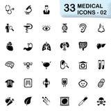 33 schwarze medizinische Ikonen 02 Lizenzfreie Stockfotografie