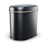 Schwarze Metallbank für Trockenstoffe auf weißem Hintergrund Stockbild