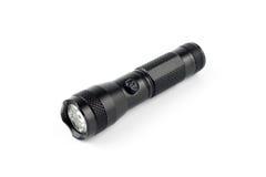 Schwarze metallische Taschenlampe Stockfotografie