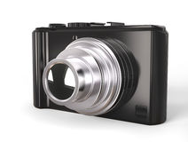 Schwarze moderne kompakte digitale Fotokamera mit silberner Linse Stockfoto