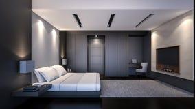 Schwarze moderne Wiedergabe Schlafzimmer/3D Lizenzfreie Stockfotos