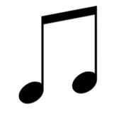 Schwarze musikalische Anmerkung Stockfoto
