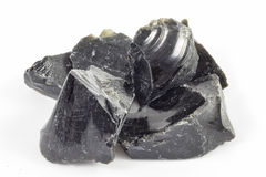 Schwarze Obsidianklumpen Lizenzfreie Stockfotografie