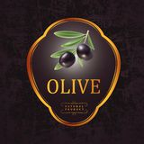 Schwarze Oliven des Vektors mit Blättern für Aufkleber, lizenzfreie abbildung