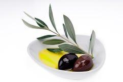 Schwarze Oliven und Olivenöl Stockfotografie