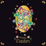 Schwarze Ostern-Grußkarte mit Blumendekoration stock abbildung