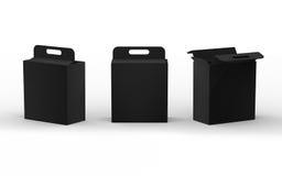 Schwarze Papppapierkastenverpackung mit Griff, Beschneidungspfad Stockbilder