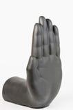 Schwarze Pflasterhand gegen weißen Hintergrund Stockfotos