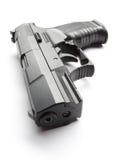 Schwarze Pistole auf Weiß Stockfotos