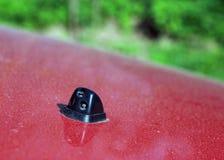 Schwarze Plastikinjektorwaschmaschine auf roter Autohaube lizenzfreie stockbilder