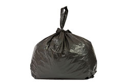 Schwarze Plastiktasche mit Abfall Lizenzfreie Stockfotografie