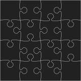 16 schwarze Puzzlespiel-Stücke - Laubsäge - Vektor Stockbild