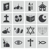 Schwarze Religionsikonen des Vektors Stockbild