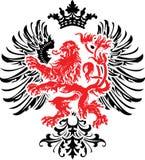 Schwarze rote dekorative Wappenkunden-aufwändige Fahne. Stockbild