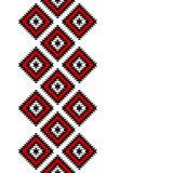 Schwarze rote und weiße aztekische Verzierungen geometrische ethnische nahtlose Grenze, Vektor Stockfotografie