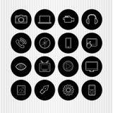 Schwarze runde Ikonen Lizenzfreie Stockfotografie
