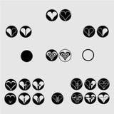 Schwarze runde Ikonen des Herzens Vektor-Illustrationssammlungssatz vektor abbildung