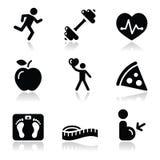 Schwarze saubere Ikonen der Gesundheit und der Eignung eingestellt stock abbildung