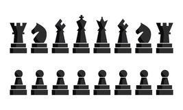 Schwarze Schachikonen eingestellt Schachbrettzahlen Vektorillustrationsschachfiguren Neun verschiedene Gegenstände einschließlich lizenzfreie abbildung