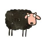 schwarze Schafe der Retro- Karikatur Lizenzfreie Stockfotografie