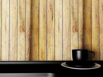 Schwarze Schale auf dem Tisch, 3d Lizenzfreies Stockbild