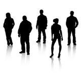 Schwarze Schattenbilder der Leute mit Reflexion. Stockfoto