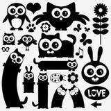 Schwarze Schattenbilder der netten Tiere stock abbildung
