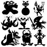Schwarze Schattenbilder des Monsters. Stockfotos