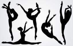Schwarze Schattenbilder einer Ballerina Lizenzfreie Stockfotografie