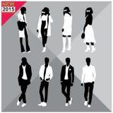 Schwarze Schattenbilder von Männern und von Frauen, Herbst, Fall, Sommerkleidung, Ausstattung, total editable, Satz, Sammlung Lizenzfreie Stockbilder
