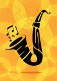 Schwarze Schattenbildtypographie eines Saxophons und der Anmerkungen über einen gelben Hintergrund Stockfotografie