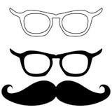 Schwarze Schauspiele und Schnurrbart - gesetzte Ikonen lizenzfreies stockfoto