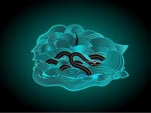 Schwarze Schlange in einem gewellten Meer Stockbild