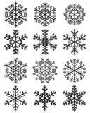 Schwarze Schneeflocken 2 Stockfotografie
