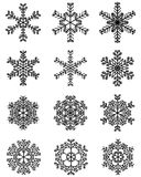 Schwarze Schneeflocken Lizenzfreie Stockbilder