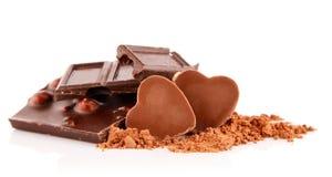 Schwarze Schokolade mit Süßigkeit Stockbilder